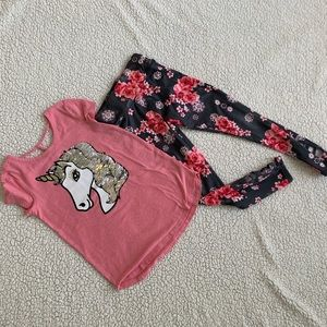 Justice Girls Outfit Unicorn Shirt Leggings Small